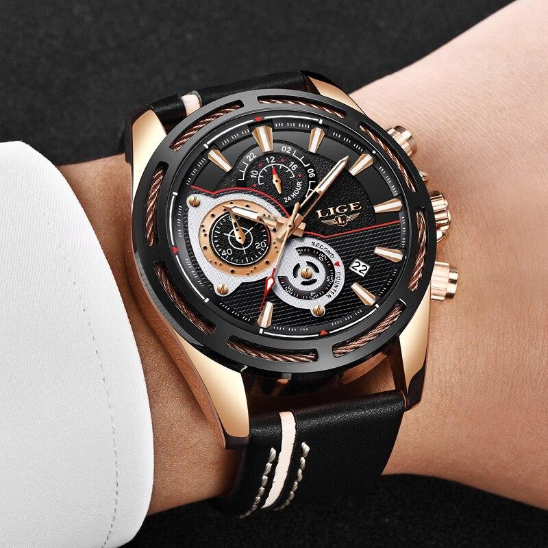Men Watches LIGE Fashion Leather Quartz Watch Top Brand Luxury Sport WristWatch Men Military Waterproof Watch Relogio Masculino