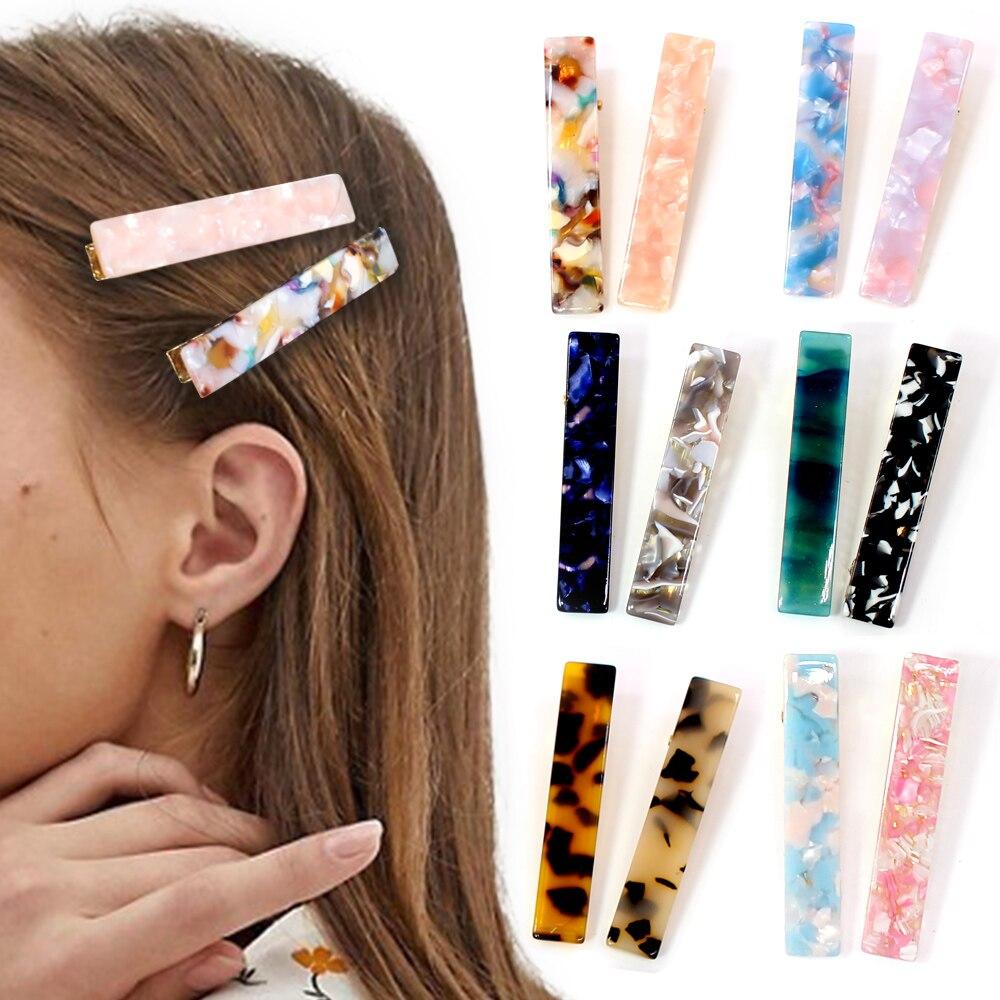 2019 Новый Для женщин девочек акриловые полые водослива прямоугольник Заколки для волос Олово Фольга шпильки с блестками заколки головная повязка, аксессуары для волос