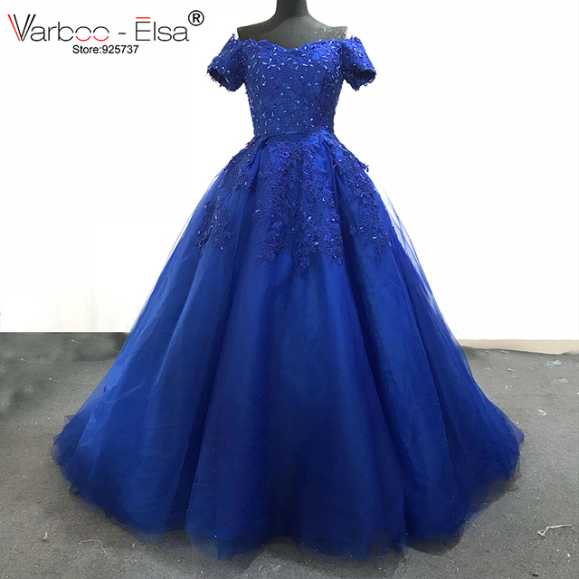 2aac33b77c VARBOO ELSA Luxury Royal Blue Tulle Beading Evening Dresses Off Shoulder  Sweetheart Party Dress 2018 Hot Sale Prom Gown vestido