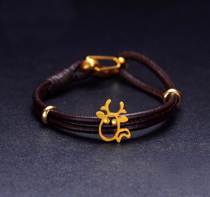 Bracelet en cuir de cerf en or jaune 24 K authentique 1.19gBracelet en cuir de cerf en or jaune 24 K authentique 1.19g