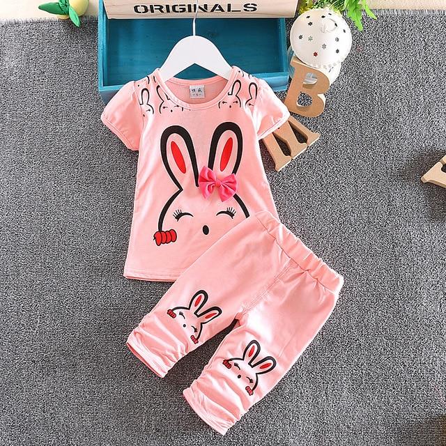 Etonnant 2017 New Cute Newborn Baby Girl Clothes Summer Cartoon Rabbit Short Sleeve  T Shirt Pants