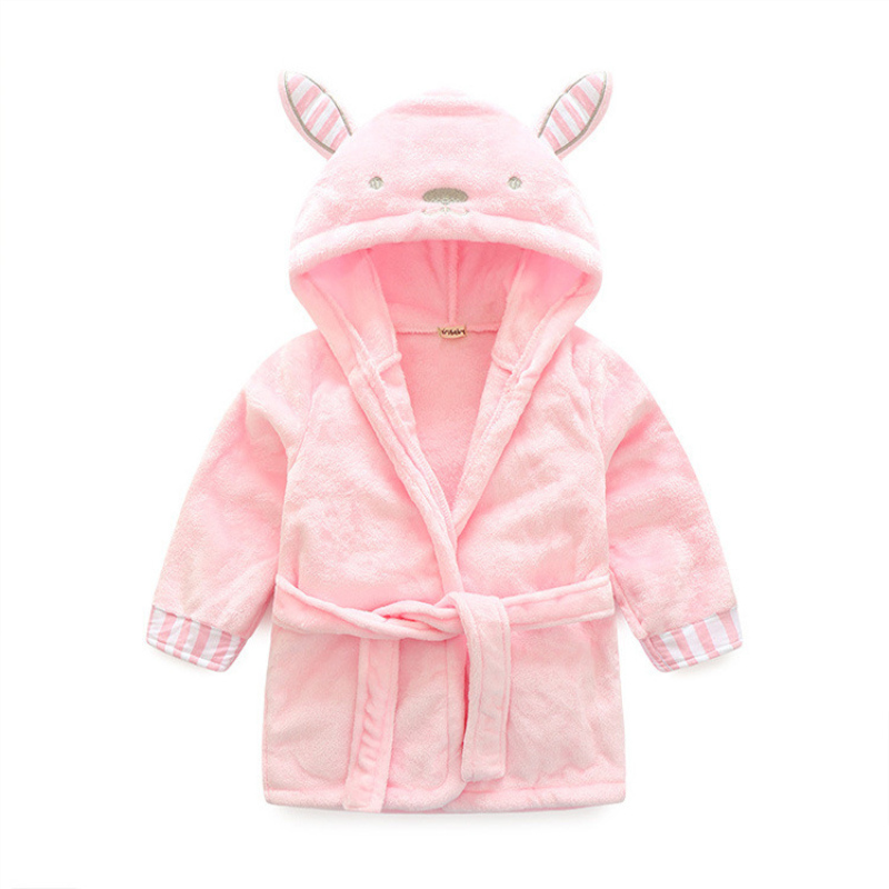 Children's bathrobe flannel material girl's rabbit pattern dressing gown bath long sleeve child's close-fitting bathrobe
