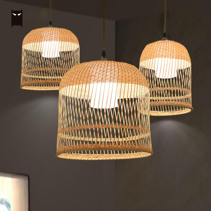Bamboo Wicker Rattan Lampshade Birdcage Pendant Light Fixture Wire Japanese Asian Mini Bulb Pendent Lamp for Kitchen Hallway natural black bamboo wicker lampshade hat large pendant light antique chinese asian rattan hanging ceiling lamps foyer lighting