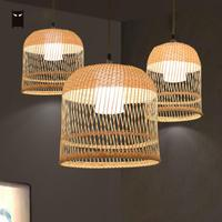 Bamboo Wicker Rattan Lampshade Birdcage Pendant Light Fixture Wire Japanese Asian Mini Bulb Pendent Lamp for Kitchen Hallway