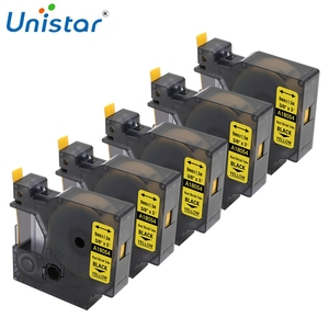 """Unistar 5 Pack 18053 18054 Compatible for DYMO Rhino PRO Labeller Tape Heat Shrink Tube Cassette 3/8"""" x 5' White Yellow 9mm(China)"""