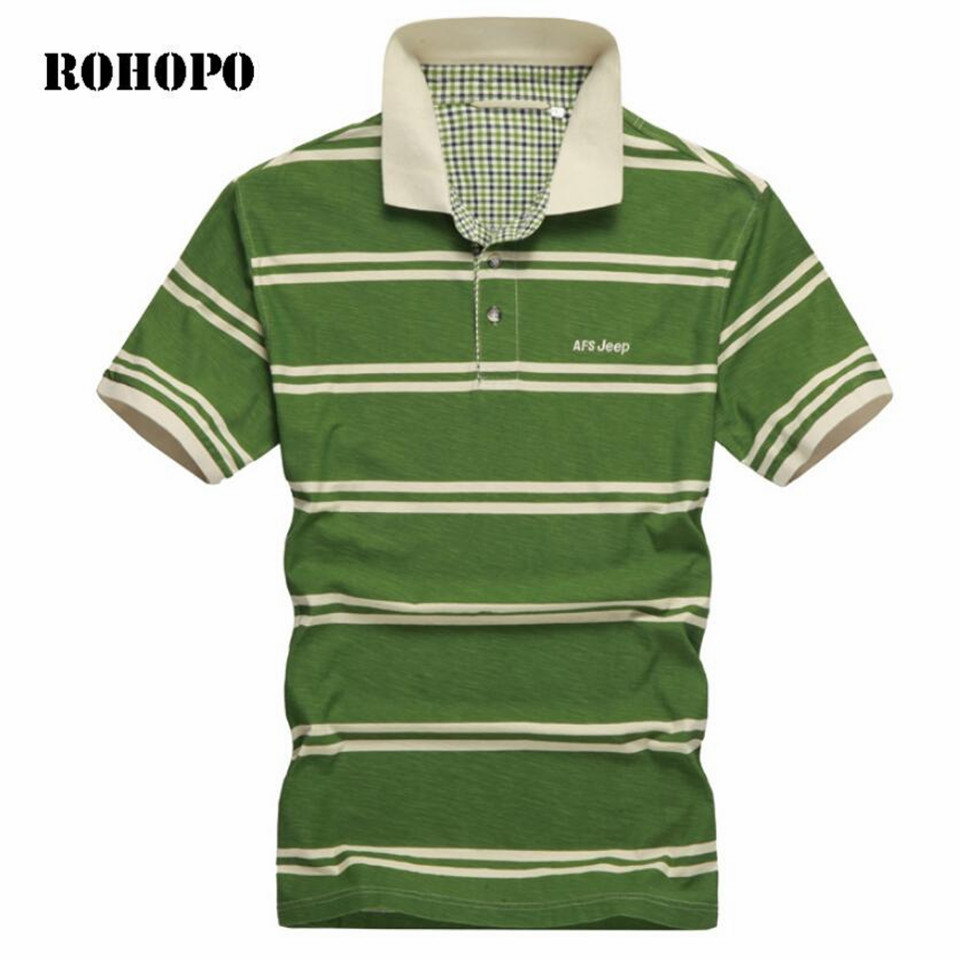 ROHOPO Man   POLO   Shirt 100% Cotton Summer Casual Shirts Breathable Striped Short Sleeve Militar   Polo   Shirt Male Pure Cotton Shirt