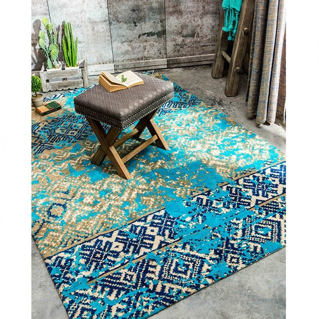 Méditerranéen bleu style de mariage tapis, bleu salon tapis de sol ...