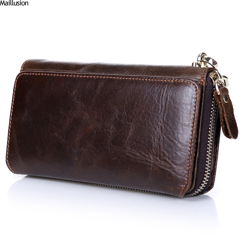 Maillusion Men Clutch Wallets Genuine Leather Long Purses Zipper Phone Bag For Male Business Large Capacity Wallet With Wristlet men clutch bag italian vegetable tanned leather long wallet luxury phone wallets wristlet male purse man clutch hand bag purses