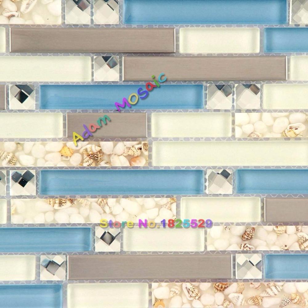 Glass Tile Blue White Backsplash Conch Stainless Steel Kitchen Tiles ...