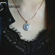 Women FashionCircular Pendant CZ Prong Setting Necklace,Three Plating Colors,Can Mix 5Pieces