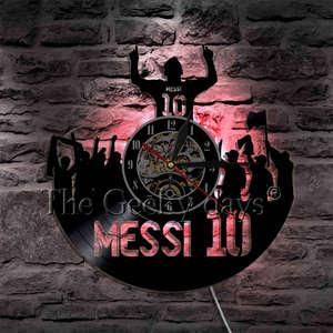 Image 5 - Joueur de Football Messi Silhouette ombre vinyle Record horloge murale personnalité décorative 3D horloge murale cadeau unique pour les Fans de Football
