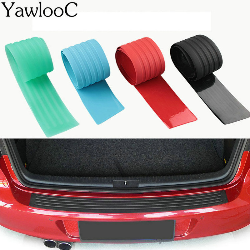 1PC Rubber Car Door Sill Bumper Protector Trunk Guard Plate Sticker Rear Bumper Protection Trim Cover Strip Scratch Plate protective pvc car bumper guard protector sticker white 2 pcs