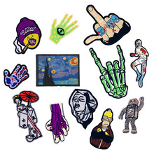 New Punk Rock Skull Fingers Iron on Patch Clothing Embroidered Sewing Applique Fabric Badge Apparel Accessory Patches
