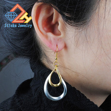 Ms. Material 100% environmentally friendly (1 pair / lot) earrings teardrop-shaped color plating