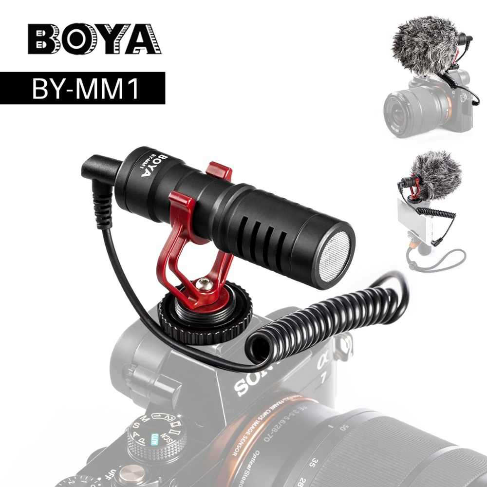 BOYA Câmera de Vídeo Microfone Mic Shotgun para Zhiyun BY-MM1 Suave 4 DJI OSMO DSLR Câmera do iphone 7 6 Andriod Smartphones