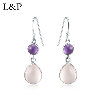 2019 New Fashion Pink Crystal Amethyst Waterdrop Earrings Real 925 Sterling Sivler Earrings For Anniversary Wedding Gift