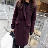 Double Breasted Woolen Coat Spring New Plus Size Wool Blends Long Sleeve Thick Overcoats Winter Coat