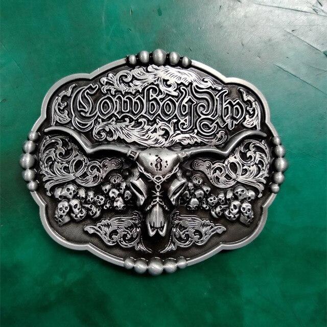1 piezas vaquero Toro cabeza calaveras de cinturón de hebilla para hombre Vaqueros cinturón occidental la cabeza
