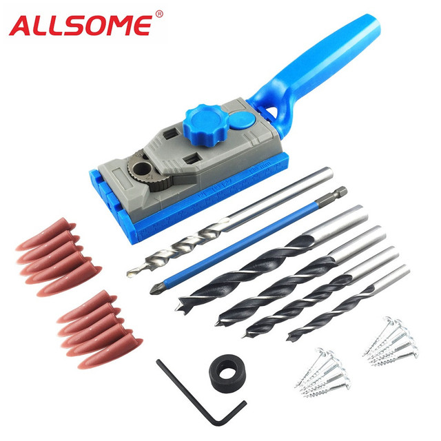 Woodworking Pocket Hole Jig Set Dowelling Jig + 9.5mm HSS Drill Bit + 6mm~12mm Brad Point Wood Drill Bit + PH2 Screwdriver