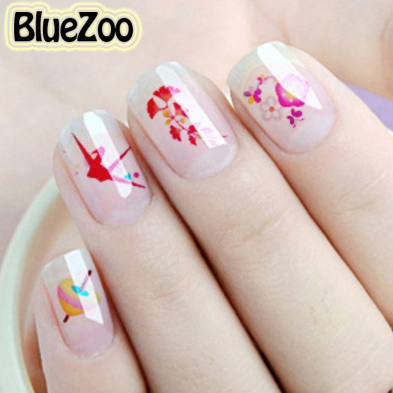 BlueZoo 23 Sheet/pack DIY Water Transfer Nails Art Stickers Colorful  Flowers Butterfly Heart Nail Wraps Foil Manicure Stickers colorful flowers water transfer nail