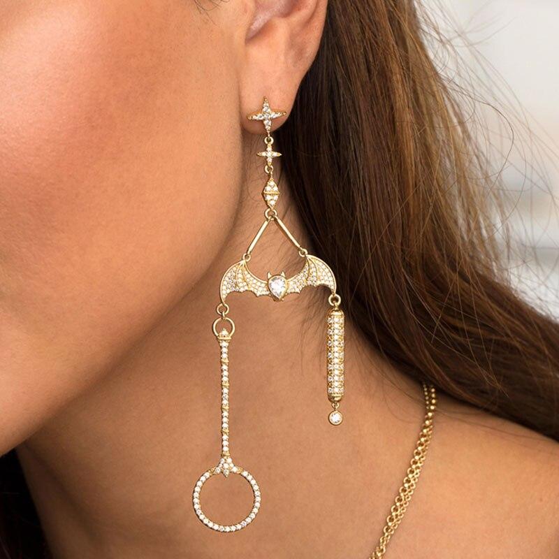 SKA Brand Drop Earrings For Women Asymmetrical Jewelry Golden 925 Silver Bat Inlaid Zircon Fashion Female Earrings AE10602OXY women s fashion eiffel tower flower rhinestone inlaid earrings purple golden pair