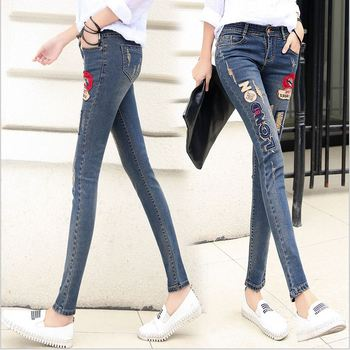 2016 New Lip Denim Pants Ripped Hole Elastic Ladies Skinny Pencil Pantsembroidery Lips Letter Jeans Trousers For Women 1
