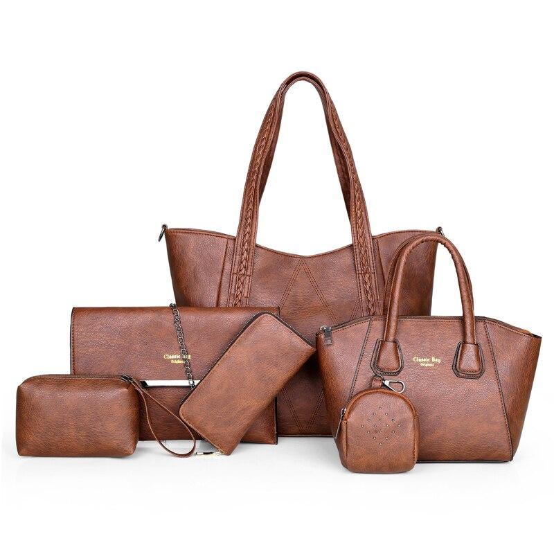 6/шт композитная сумка большая женская сумка и сумки через плечо женские дизайнерские модные женские роскошные сумки 2019 сумки в роскошных с... - 3