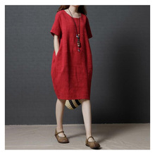 Women Summer Korean Style Midi Red Linen Streetwear and Office Dress Plus Size Dresses Ladies Fashion 2019 Clothes .