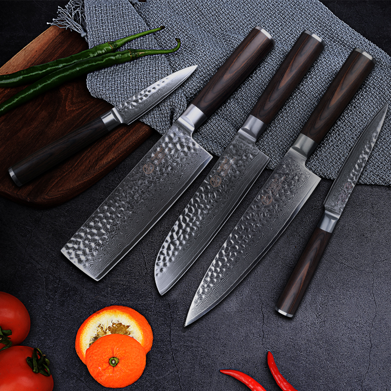 YARENH 5 pcs kitchen knife Set Damascus steel knives professional chef knife sets best cooking knives in Knife Sets from Home Garden