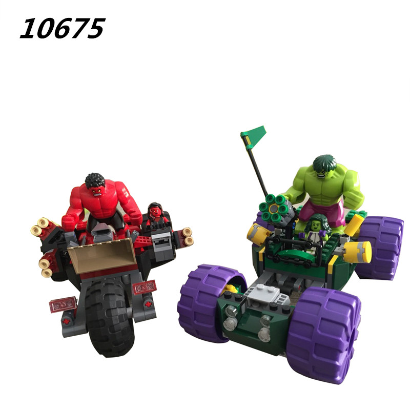 10675 387pcs Marvel Super Hero Hulk Vs Red Hulk Team Vehicle Building Block Compatible 76078 DIY Bricks Toy new avengers season 2 hulk rocky space aircraft carrier breakout super hero minifigures building block compatible with legoe