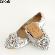 Fashion Women Shoes Flats Comfortable Rhinestone Bridal Ballerina  Pregnant Portable Fold Up