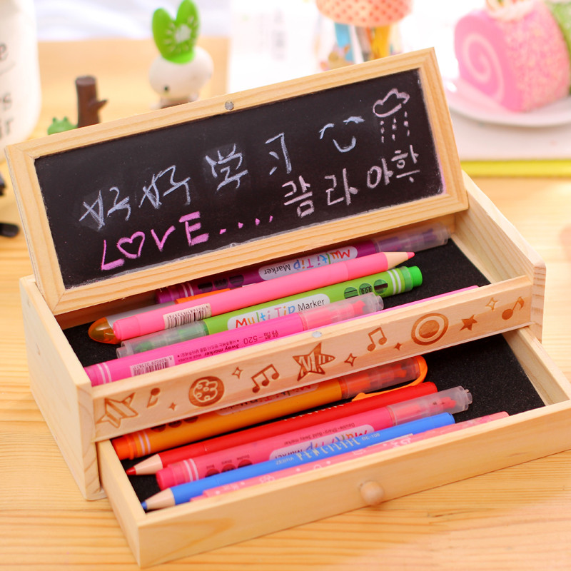 Creative Fashion Wooden Pencil Case Large Capacity Multi-function 2 Layer Pencil Box Kawaii Stationery Gift for Chil Student canvas multi layer function camouflage creative simple large capacity pencil case oxford school stationery bag with gift