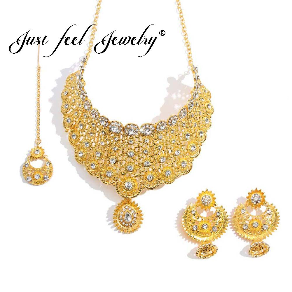 JUST FEEL Luxury Crystal Jewelry Sets For Women Wedding Gold Color Necklace Earrings Headdress Indian Dubai Arab Fashion New Set
