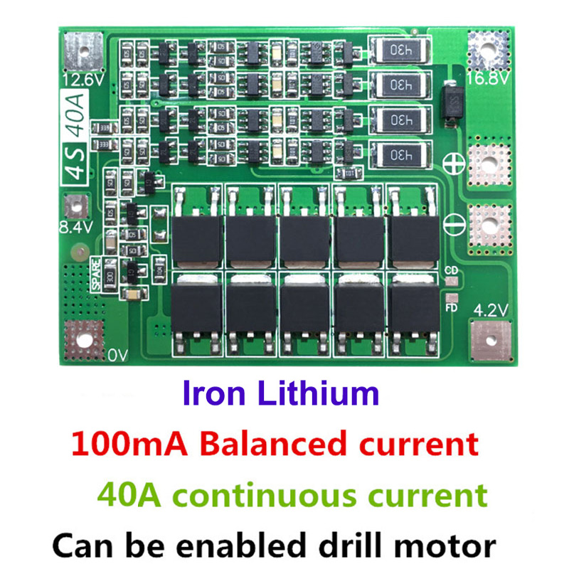 4S 40A Iron lithium battery Charger Protection Board 12.8V 14.4V Lipo Cell Module with Balance PCB BMS For Drill Motor(China)