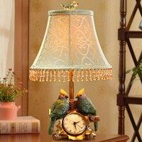 Decorative Bird Clock Table Lamp Bedside Lamp Vintage Resin Style Brief Modern Lampshade Living Room Bedroom
