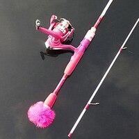 Высокое качество искушение вес вращающийся литой рок удобный розовый высококарбоновый стержень 1,98 м девочка лед удочка Бесплатная доставк