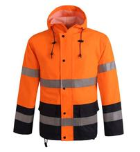 Good price Fluorescent red fashion  reflective warning safety raincoat Construction traffic fission outdoor waterproof overalls