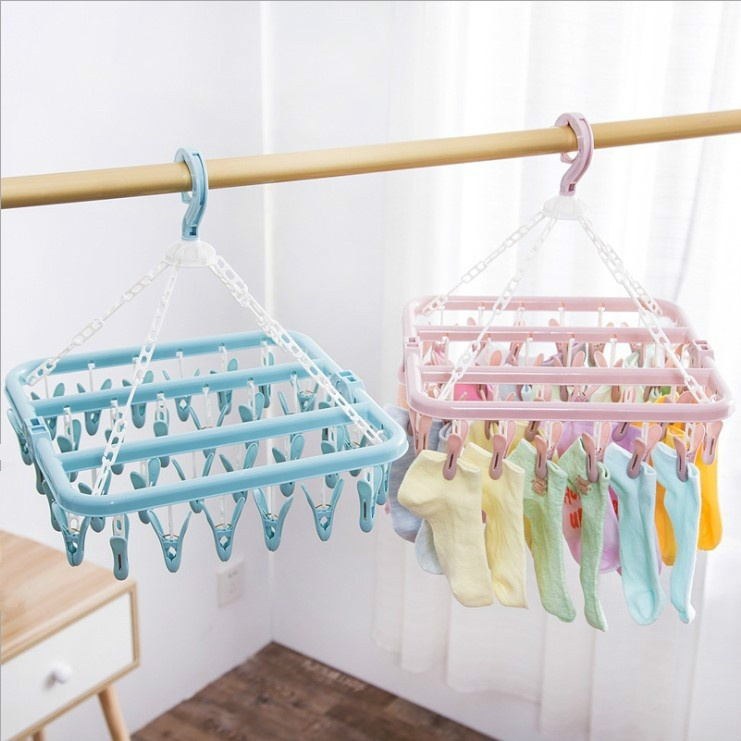 1pcs 32 clips folding clothes hanger dryer windproof socks underwear drying rack baby clothes hangers organizer laundry rack