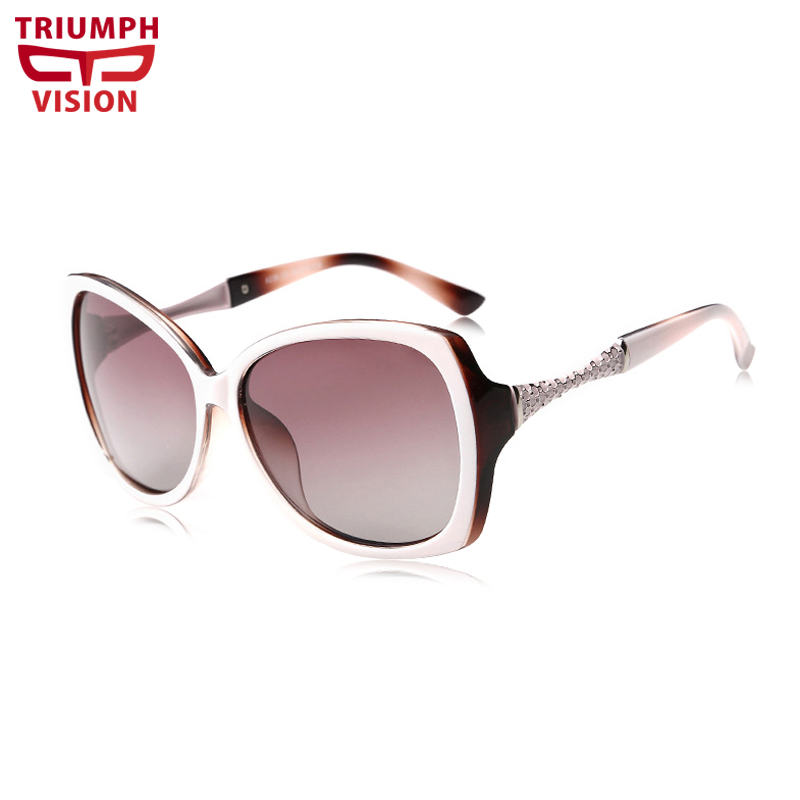 TRIUMPH VISION High Quality White Frame Driving Women Sunglasses Elegant Butterfly Ladies Sun Glasses Summer Polarized Oculos de