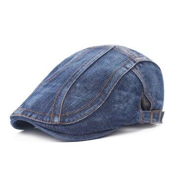 Cool Denim Unisex Berets Summer Men Beret Fashion Casual Short Brim Cap Hat Denim Women Stroll Beret Adjustable Cheap 10pcs/lots фото