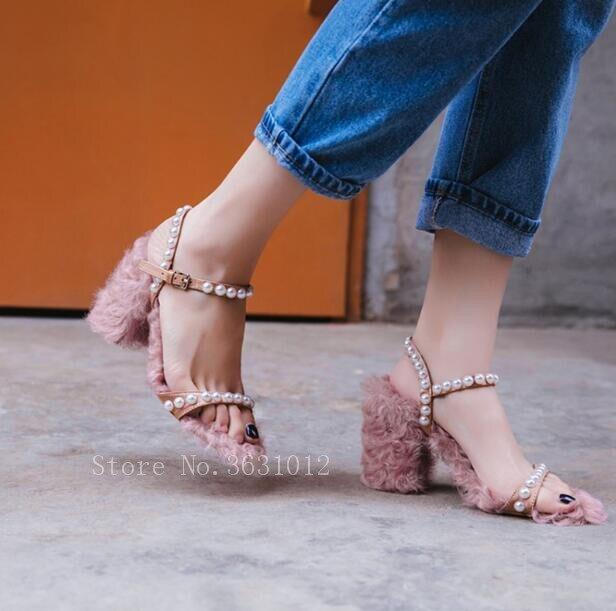 Pour Boucle Perle Fourrure D'été Annkle Épais Mariage De Douce As Dame Femme Style Talons Partie Pic 2019 Femmes Sandales Hot Chaussures wqtZT