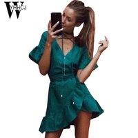 WYHHCJ 2017 New Casual V NECK Summer Dress Short Sleeve Anomaly Women Beach Dresses Mini Solid