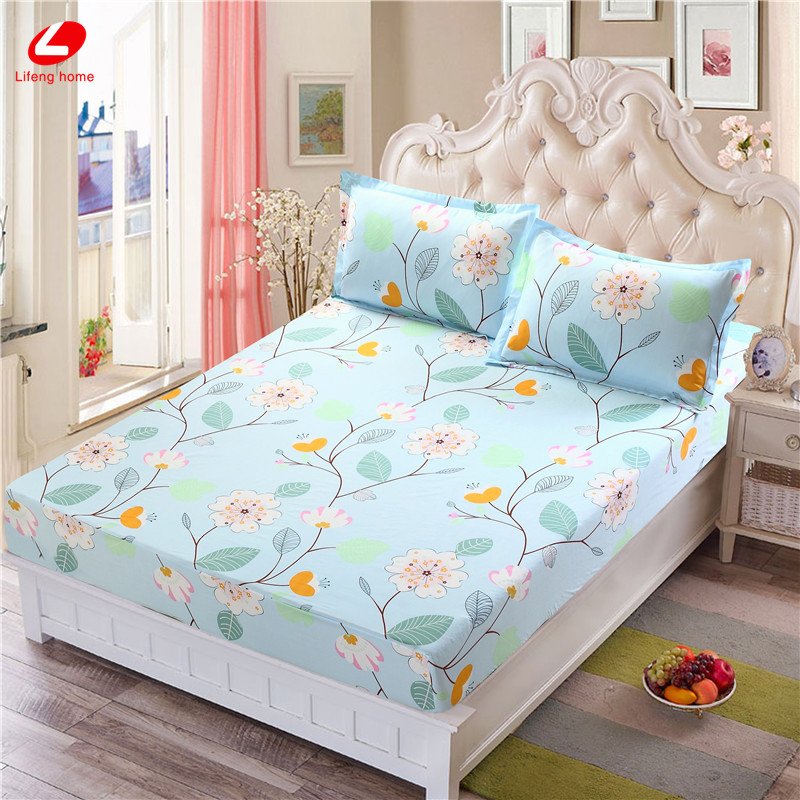Home textile bed sheet sheet flower mattress cover printing bed sheet elastic rubber bedclothes 180*200cm summer bedspread band 54