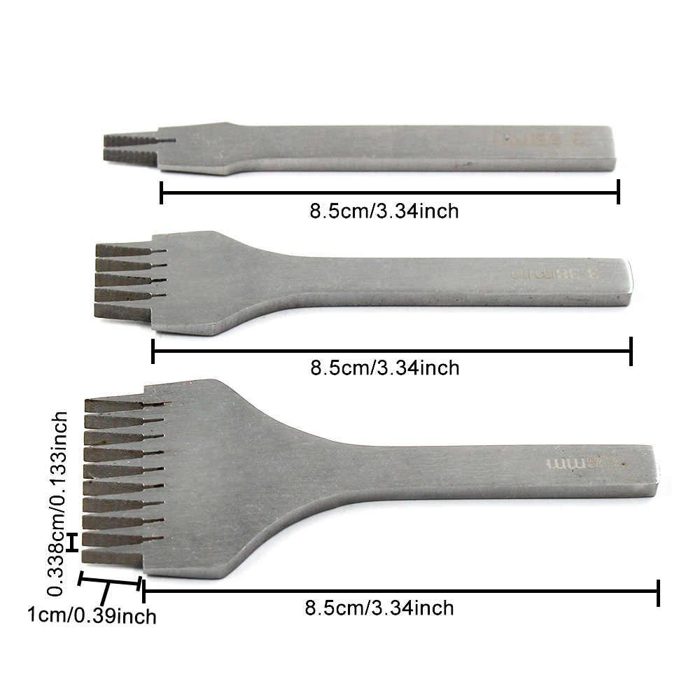3.38/3.85/3.0/2.7 Mm Gaya Perancis Kerajinan Kulit Lubang Punch Jahitan Alat Pukulan Set Kerajinan Kulit eropa Miring Flat Cut