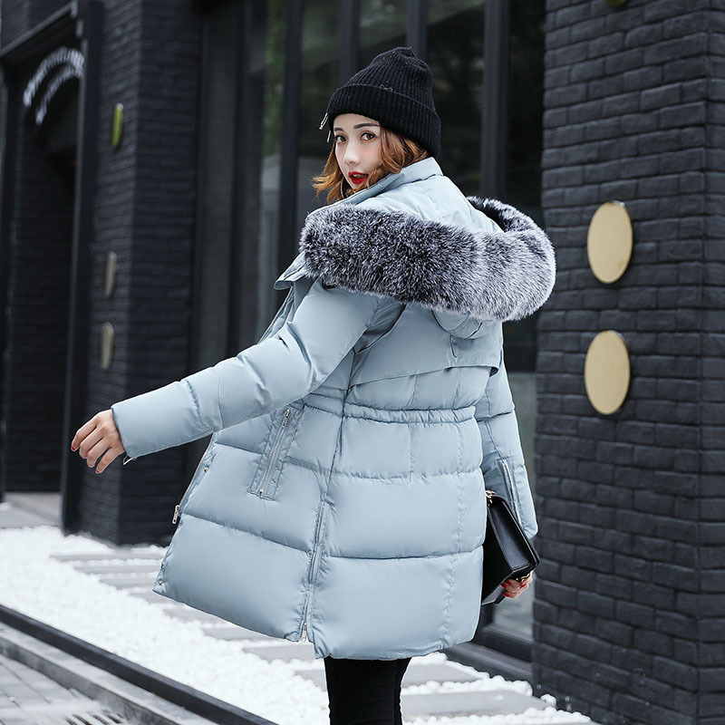 Winter Coat Women Long Parkas 2017 New Fashion Thick Warm Feathers Collar Zipper Jackets Female Sky Blue Cotton-padded Hooded 2017 winter women parkas slim feathers collar female cotton padded coats jackets long thick warm hooded new hot la1013b 16608