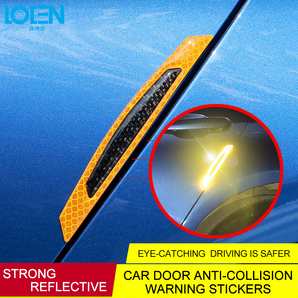 4x  Carbon Fiber Red Safety Reflective Tape Warning Car Door Stickers Accessory
