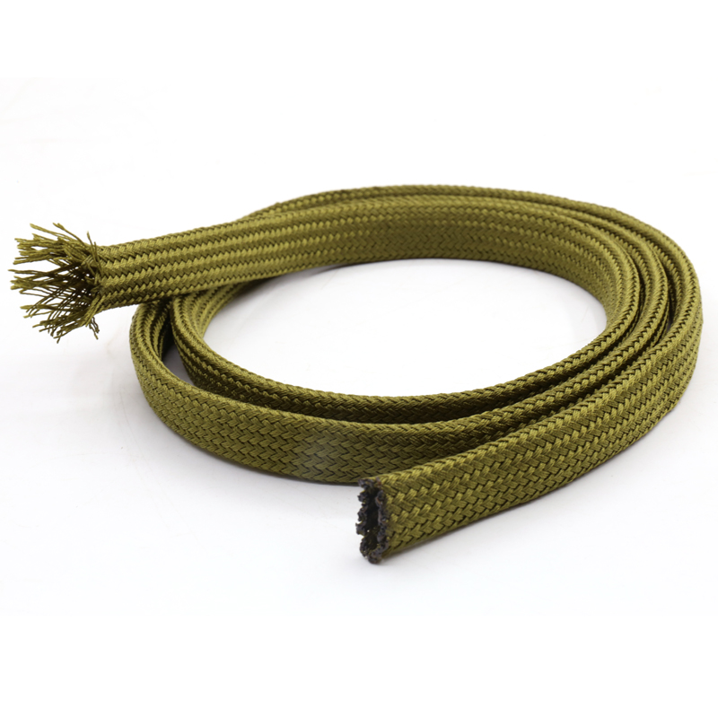 5M Soft Cotton Nylon Sleeve Wire Cable Braided Sleeving Protecting Expandable Cable Sleeve High Density Cable Sleeves Army Green