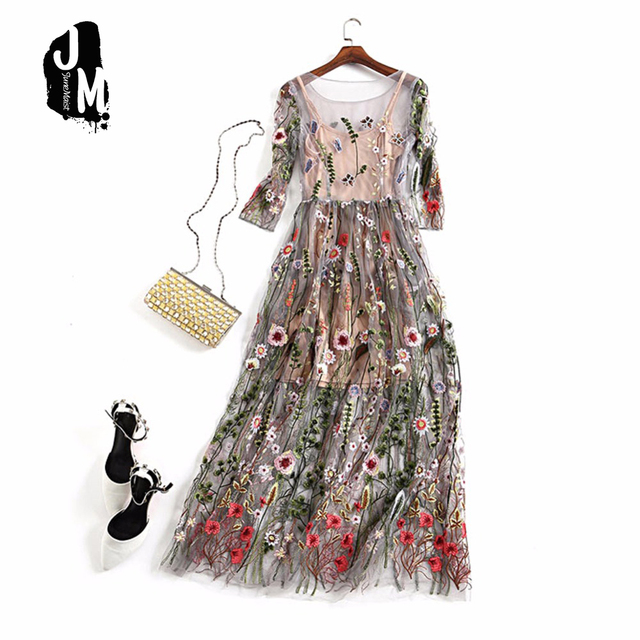 33dc10f7424 Sexy Two Pieces Gorgeous Runway Dress Boho Bohemian long Dresses Feminino  Vestidos Mesh Floral Embroidered Sheer