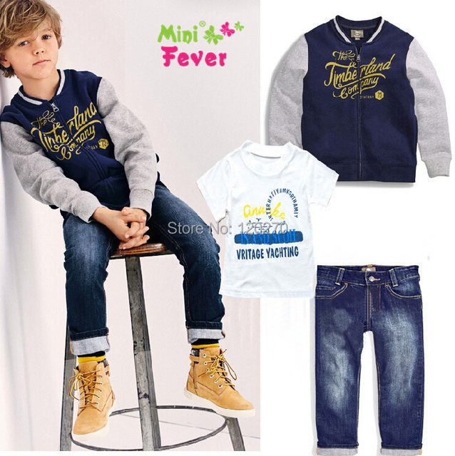 7365d06b US $110.0 |Autumn Winter Baby Boys Letter Jacket T shirt Denim Jeans Pants  Three Piece Suit Infant Toddler Clothes Set Children Outfits Set-in ...