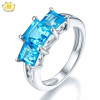 Hutang 2 27 Ct Natural Gemstone Swiss Blue Topaz Solid 925 Sterling Silver Wedding Ring Fine